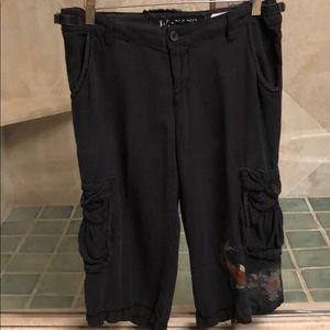 Da-Nang Silk/Rayon blend, black cargo long shorts
